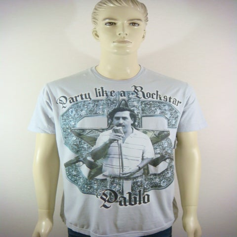 "Image of ANVEM clothing brand ""Pablo Escobar"" gray men shirt"