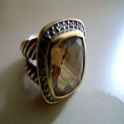 Image of David Yurman Albion Split Shank Citrine, Diamond, Sterling & 18k Gold Ring
