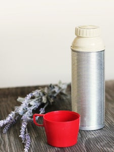 Image of Vintage Silver Ribbed Thermos