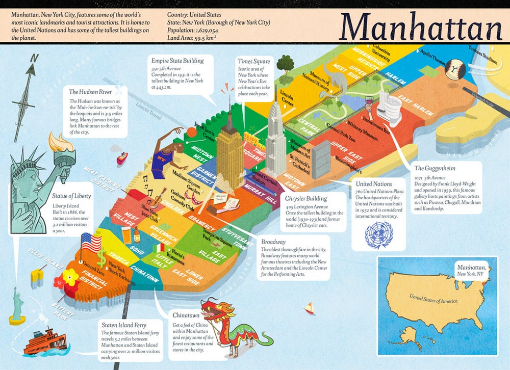 Manhattan Map Of Attractions Usa Maps US Country Maps
