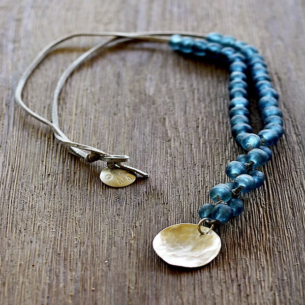 Image of Chunky Bead Necklace, Blue