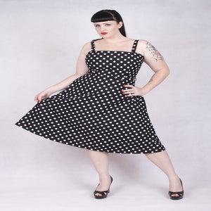 Image of 'Rocker Girl Jane' dress - Black with White Polka Dots