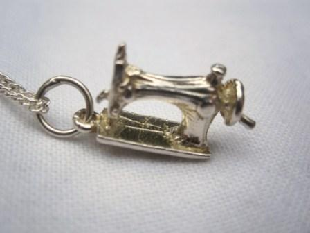 Image of Sterling Silver Sewing Machine Pendant Necklace