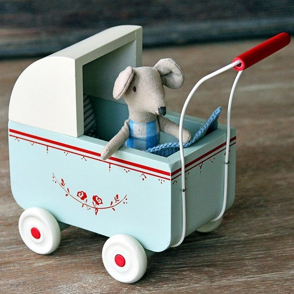 Image of Wooden Pram, Blue