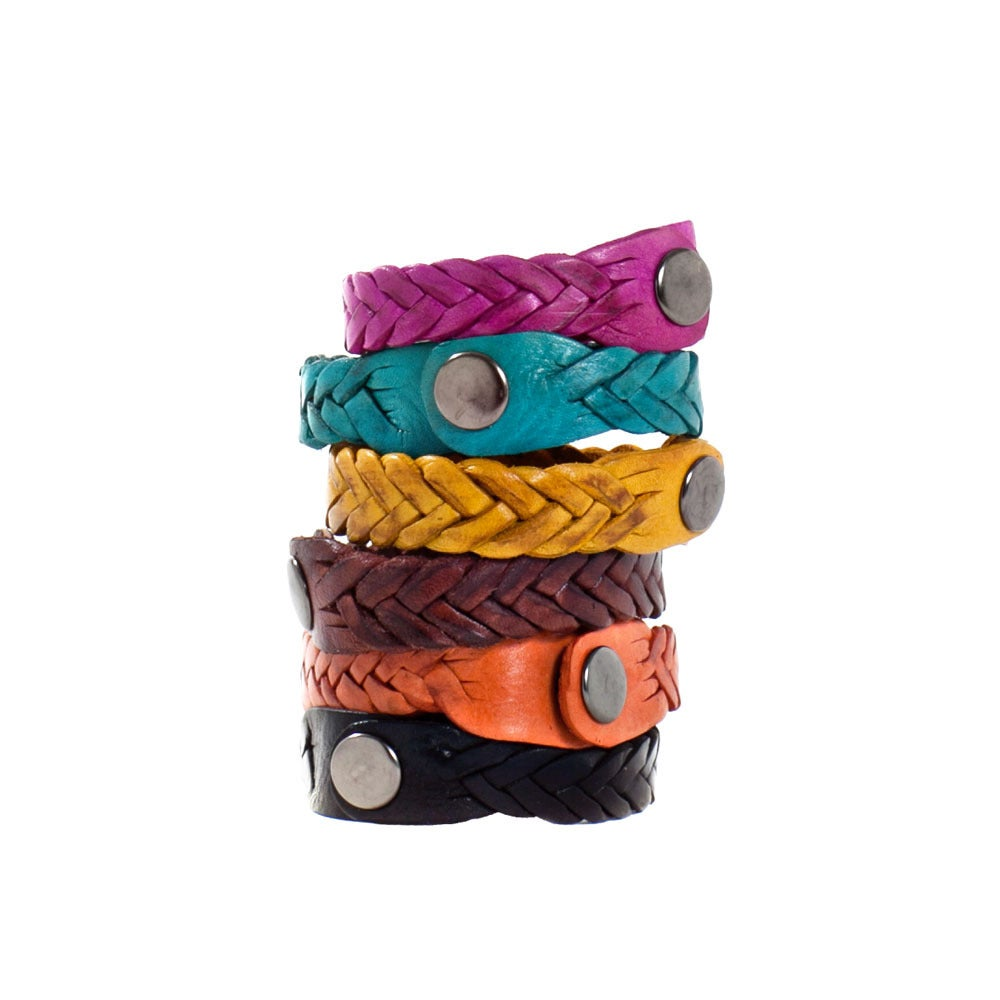 Image of Colorful Moroccan Braided Leather Bracelets