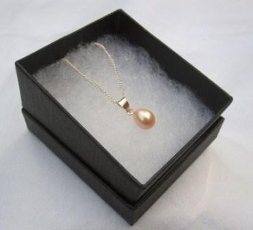 Image of Sterling Silver Pale Pink Pearl Pendant Necklace