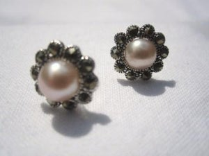 Image of Sterling Silver Marquisette Pale Pink Pearl Earrings