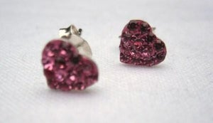 Image of Sterling Silver Pink Heart Stud Earrings