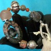 Image of Agate unicite bracelet/earring set