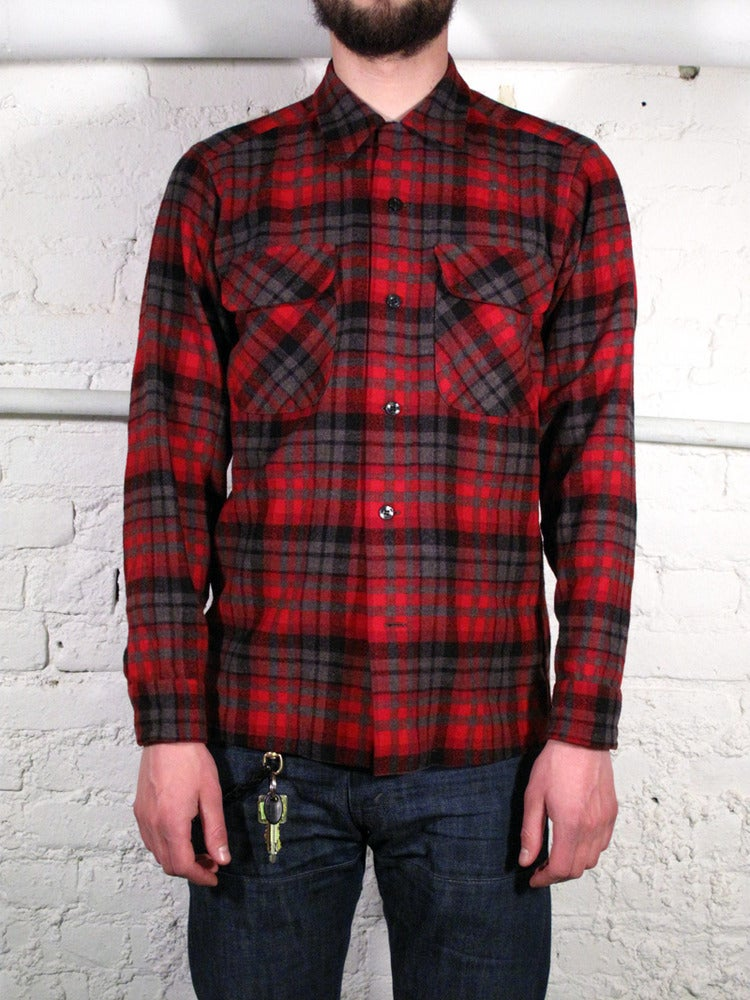 Eightyfoureightyfive pendleton flannel shirt red black grey for Flannel shirt red black