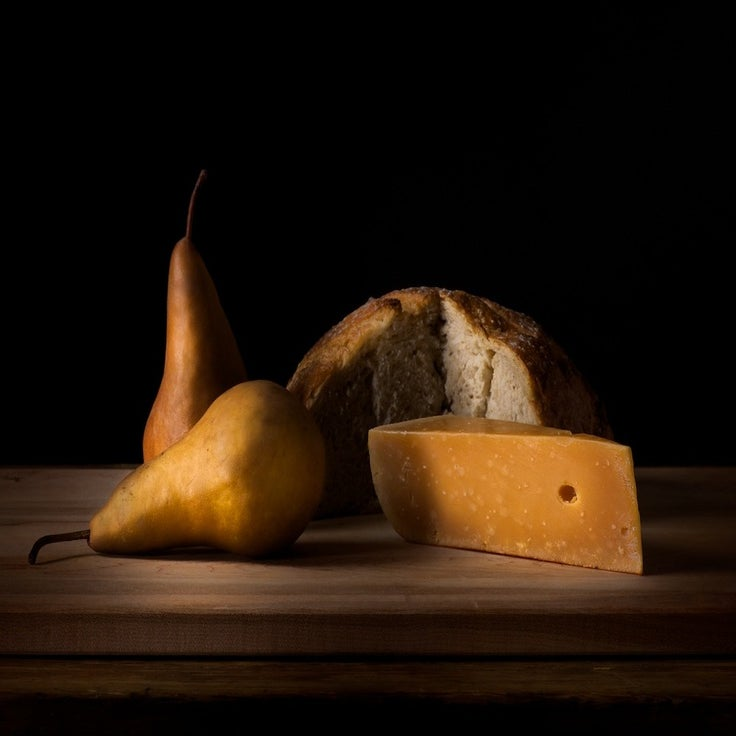 Image of Bosc pears, aged Gruyere, Pain De Champagne