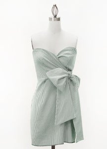 Image of Judith March Green Seersucker Bow Dress