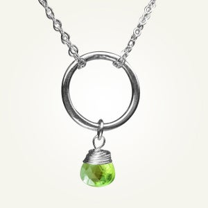 Image of Orbit Necklace with Peridot, Sterling Silver