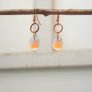 Image of Purple/pink/salmon dichroic glass earrings