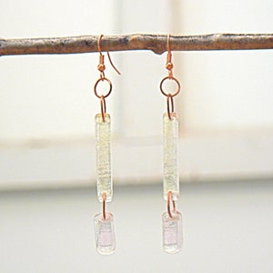 Image of Yellow/green/pink/teal dichroic glass earrings