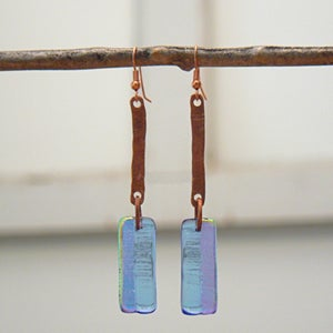 Image of Blue/purple/gold dichroic glass earrings
