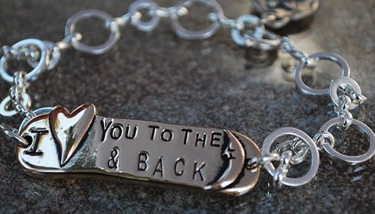 """Image of """"I Love you to the Moon & Back"""" PEWTER Bracelet"""