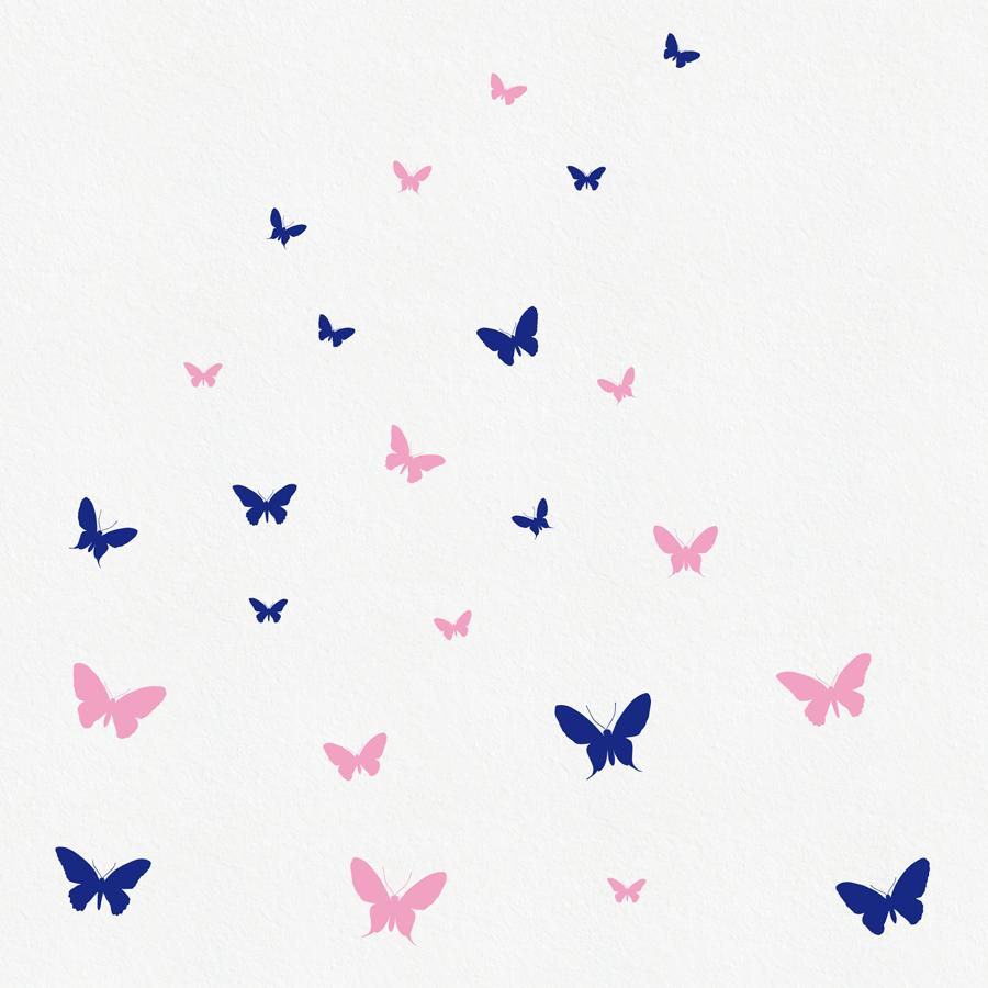 Image of Schmetterlinge Wandtattoo - Set mit 24 in 2 Farben