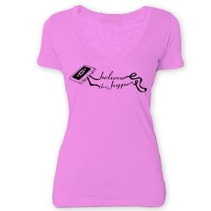 Image of Ladies Cassette Pink Deep V-Neck