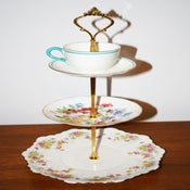 Image of 3 Tier 'Breakfast at Tiffanys' White Floral Teacup Cupcake Stand
