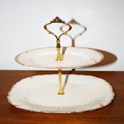 Image of 2 Tier 'Orange Flash' Cream & Gold Vintage Cupcake Stand