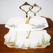 Image of 2 Tier 'Birds & the Bees' White Art Deco Vintage Cupcake Stand