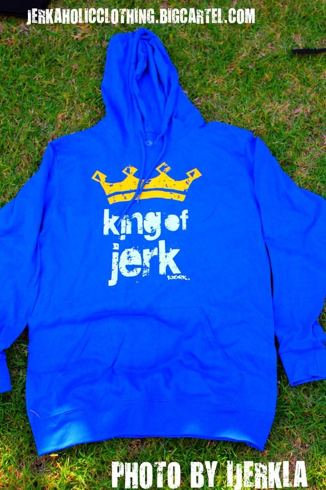 Image of Blue and YELLOW EXCLUSIVE KING OF JERK HOODIE