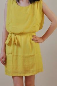 Image of Mustard Chiffon Dress