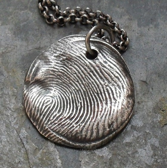 Image of Fingerprint Necklace in Fine Silver (Style#101)