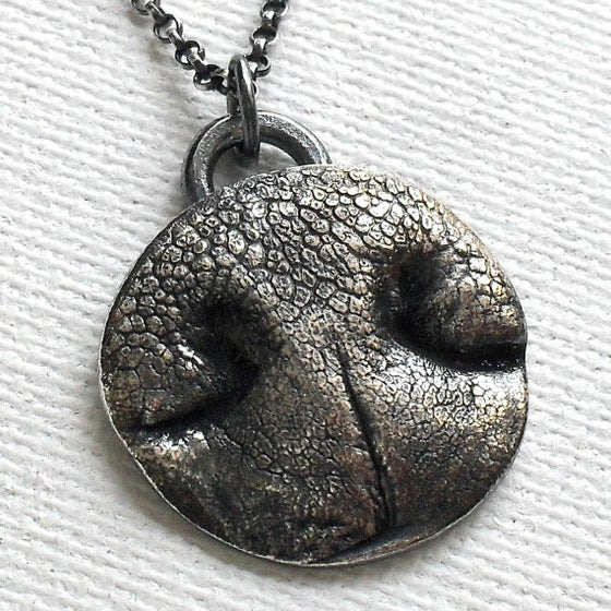 Image of Dog Nose Print Necklace in Fine Silver (Style#202)