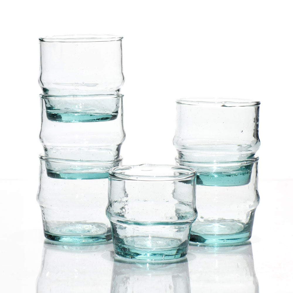 "Image of Hand-blown recycled  glasses, ""basta"" size"
