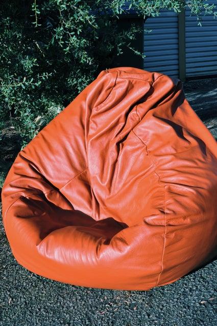 Image of Orange Leather Bean Bag