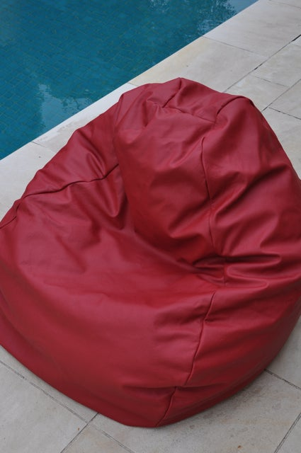 Image of Red Leather Beanbag