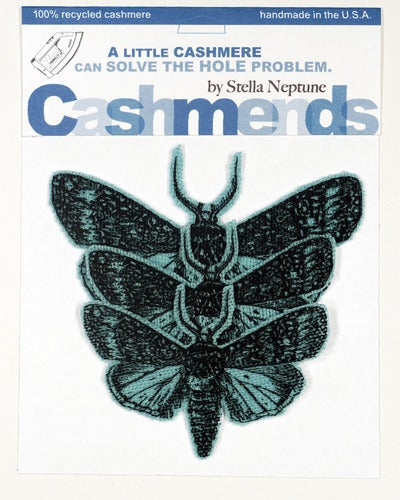 Image of Iron-on Cashmere Moths - Aqua Blue