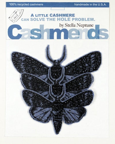 Image of Iron-on Cashmere Moths - Heather Blue