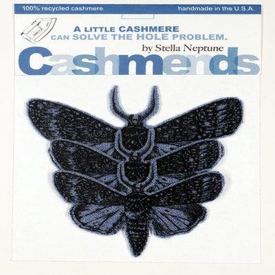 Image of Iron-on Cashmere Moths - Light Heather Blue