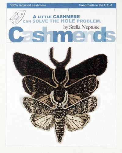 Image of Iron-on Cashmere Moths - Brown/Beige/Cream