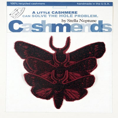 Image of Iron-on Cashmere Moths - Cardinal Red