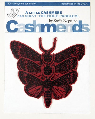 Image of Iron-on Cashmere Moths - Classic Red