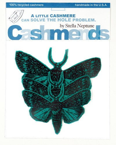 Image of Iron-on Cashmere Moths - Teal