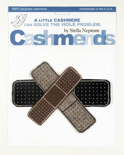 Image of Iron-on Cashmere Band-Aids - Black/Brown/Grey