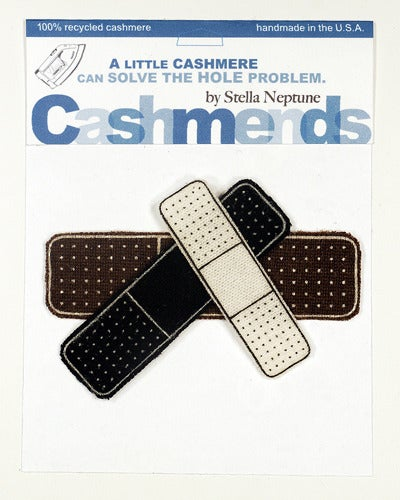 Image of Iron-on Cashmere Band-Aids - Black/Brown/Cream