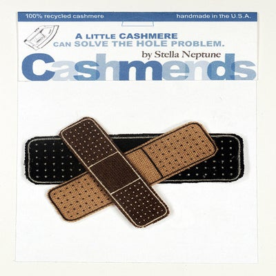 Image of Iron-on Cashmere Band-Aids - Black/Camel/Brown