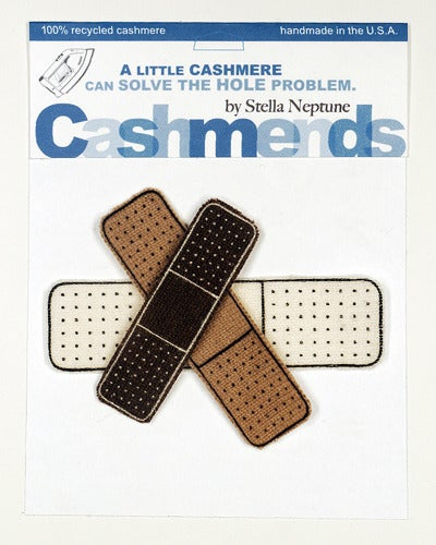 Image of Iron-on Cashmere Band-Aids - Brown/Camel/Cream