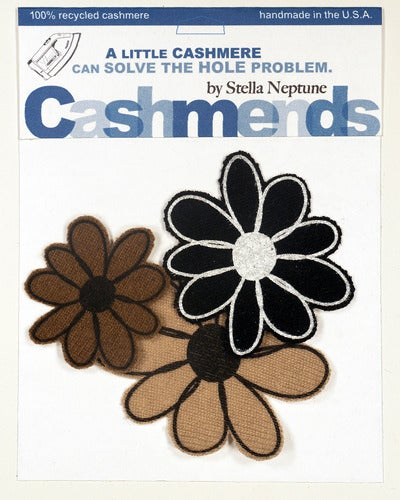 Image of Iron-on Cashmere Flowers - Black/Brown/Beige