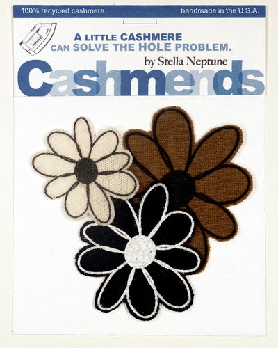 Image of Iron-on Cashmere Flowers - Black/Cream/Brown