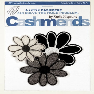 Image of Iron-on Cashmere Flowers - Black/Grey/Cream