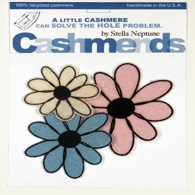 Image of Iron-on Cashmere Flowers - Baby Blue/Baby Pink/Cream