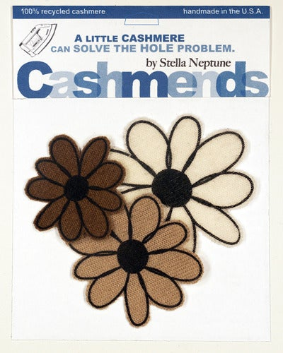 Image of Iron-on Cashmere Flowers - Brown/Beige/Cream