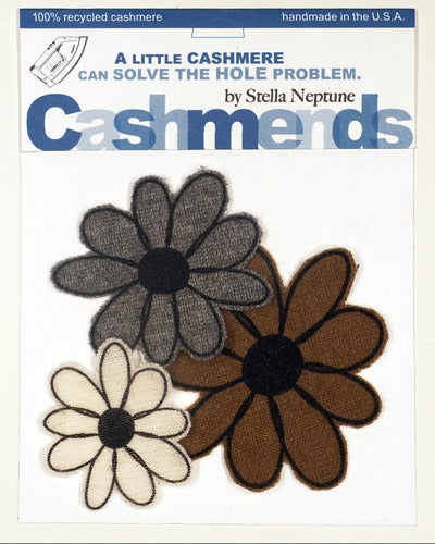 Image of Iron-on Cashmere Flowers - Brown/Grey/Cream